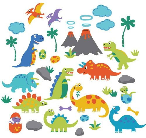 Dino Friends Decorative Peel & Stick Wall Art Sticker Decals (Wall Stickers Decals compare prices)