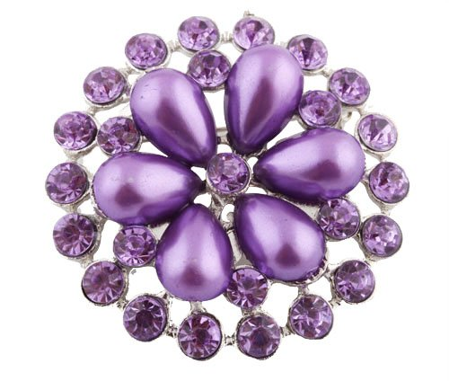 Ladies Silver with Metallic Purple Iced Out Sun Wheel Pearl Flower Style Collar Brooch & Pin