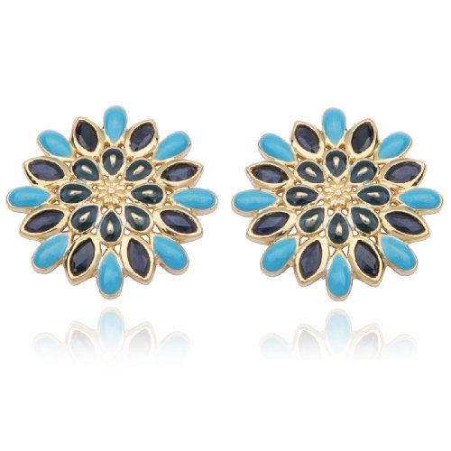 18k Yellow Gold Plated Sterling Silver Sapphire Starburst Post Earrings
