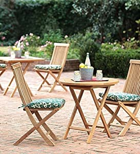 Plantation-Grown Solid Teak Outdoor Bistro Tables And Chairs