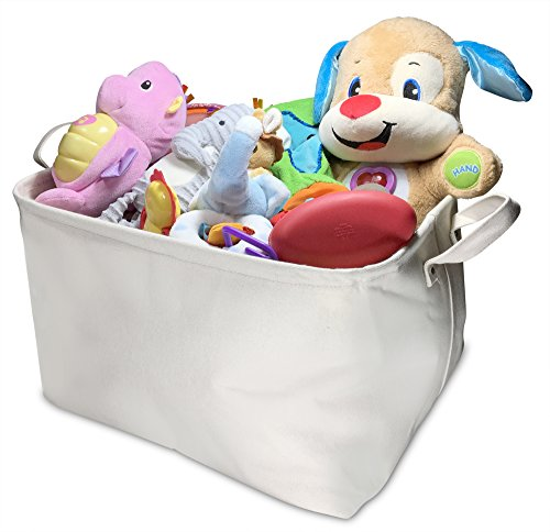 Large 100% Cotton Canvas Collapsible Storage Basket, Nursery Bin, Laundry Box - Perfect Organizer for Kids Toys, Baby Clothing, Children Books, Ideal for Organizing Home Stuff and Office Supplies (Baby Fabric Baskets compare prices)