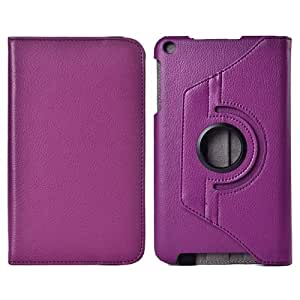 Litchi Texture 360 Degree Rotation Leather Case with 2 Gears Holder & Sleep Wake-up Function for ASUS MeMo Pad 8 ME181C(Purple)