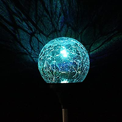 AGPtek 3 Pack Solar Power Mosaic Crackle Multi-color Change Glass Ball Lamp LED Light Outdoor Garden Yard Christmas Party Decor Stake Light