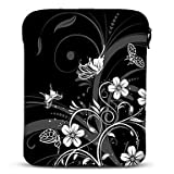 Black and White Butterfly Neoprene Tablet Sleeve Case for 10