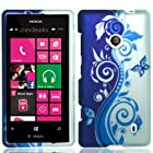 For T-Mobile Nokia Lumia 521 Windows Phone 8 Hard Case Cover Blue Silver Vine