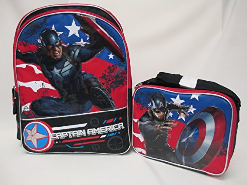 "Captain America The Winter Soldier Large 16"" Backpack Book Bag & Lunch Box Set"