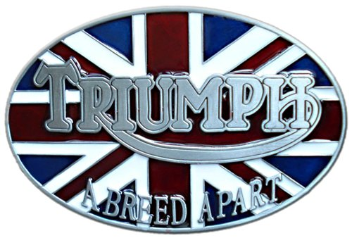 Triumph Belt Buckle, Die Cast Pewter Finish, Color Enamel