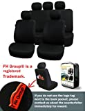 FH-FB051115 Multifunctional Flat Cloth Car Seat Covers, Airbag compatible and Split Bench, Black color
