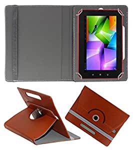 ACM ROTATING 360° LEATHER FLIP CASE FOR SWIPE 3D LIFE PLUS TABLET STAND COVER HOLDER BROWN