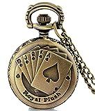 #4: LMP3Creation Classic Vintage Retro Antique Bronze Finish Royal Flush Pocket Watch For Men Women - Chain Necklace Watch (POW-0197)