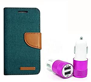 Aart Fancy Wallet Dairy Jeans Flip Case Cover for NokiaN520 (Green) + Dual USB Port Car Charger with Smartest & Fastest Technology by Aart Store.