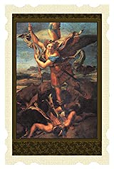 Catholic Patron Saint St Michael & Demon Old Masters Christian Prayer Holy Card