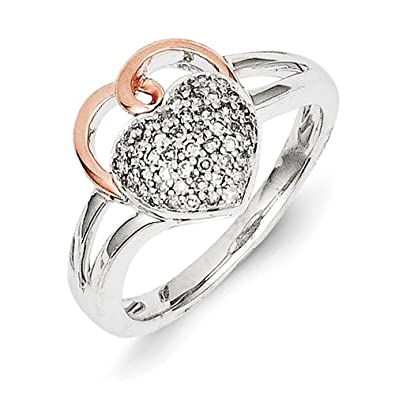 Sterling Silver and 14ct Gold Rough Diamond Heart Ring - Ring Size Options Range: L to P
