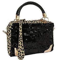 SHENGXILU Women\'s PU Leather Multicolor Handbag (Leopard)