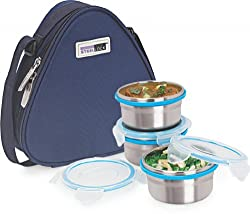 Steel Lock Hl-1231 Steel Airtight Lunch Box With Insulated Bag, 3 Pieces, Silver