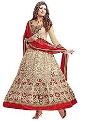 Clickedia Women's Faux Georgette Semi-stitched Suit (Sayali 8005 beige_Beige_Free Size)