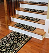 Premium Carpet Stair Treads - Nobility Black Set of 13 Plus a Matching 5' Runner