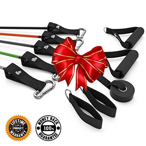 Cyber Monday Sale :: Resistance Exercise Bands :: Rubber Stretch Fitness Training Band Set Comes with Leg Straps, Handles & Door Anchor (Chest Press Band compare prices)