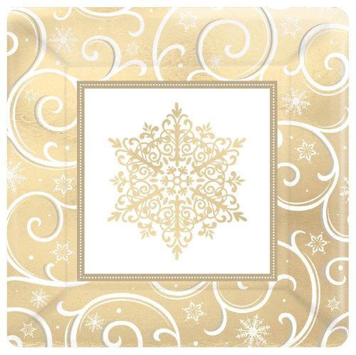 Shimmering Snowflake Metallic Square Banquet Plates (8 Count) Party Accessory