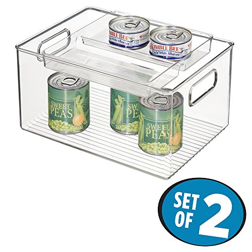 mDesign Stacking Organizer Bin & Tray for Kitchen, Pantry Cabinets - Set of 2, Clear (Deep Freeze Organizer compare prices)