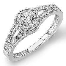 buy 0.25 Carat (Ctw) Sterling Silver Round Diamond Ladies Split Shank Engagement Ring 1/4 Ct (Size 6.5)