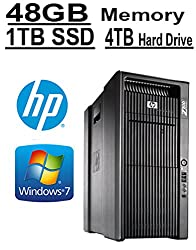 HP 8 Core with 16 Hyperthreads, HP Z800, 2 X Intel QUAD CORE Xeon up to 3.33GHz, 1TB SSD, 4TB HDD, 48GB (Certified Refurbished)