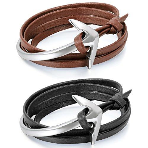 Aroncent fascino,personalita` braccialetto registrabile in pelle unisex,forma di Anchors e gancio,multistrato di avvolgimento(2 pezzi)