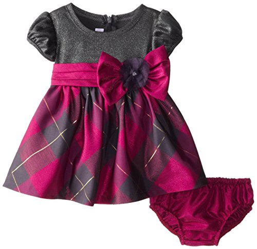 Bonnie Baby Baby-Girls Newborn Lurex Taffeta Plaid Dress, Fuchsia, 6-9 Months front-859937