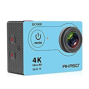 AKASO EK7000 4K WIFI スポーツ カメラ HD 1200万画素30メートル防水170度広角レンズ2インチ LCD 2.4G無線RF リモコンバイクや自転車/カート/車に取り付け可能 空撮やスポーツに最適 二つバッテリー&豊富な付属品付き(ブルー)