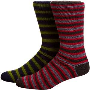 Horizon Deluxe Chaussette de randonnée en laine Mérinos Stripe Charcoal/Red & Navy/Green Size 8-12