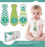 Zoe Hopkins Baby Monthly Stickers Necktie - Milestones for Months 1-12 - Plus 8 Bonus Milestones - Including I Am Born, I Can Sit Up, I Can Stand - Best Baby Shower Gifts!