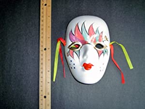 Ceramic Mardi Gras Face Mask for Wall - Bisque - B