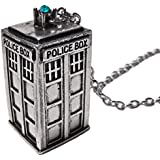 TV Inspired Tardis Silver Tone Pendant Necklace with Blue/Green Crystal Light
