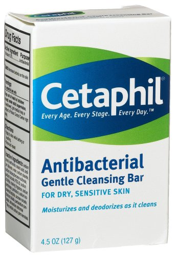 Cetaphil Antibacterial Gentle Cleansing Bar, 4.5-Ounce Bar (Pack of 6)