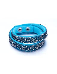 Light Blue Twin Layer Korean Velvet With Resin Crystals Bracelet For Women By NEVI