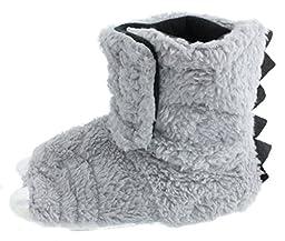 Chatties Unisex Toddler\'s Monster Feet Velcro Slipper Shoes, Grey, X-Large 11/12