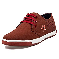 PAN Mens G01 RED Fabric Casual Shoe-9 UK