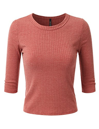 Doublju Womens 3/4 Sleeve Crewneck Cropped Ribbed Knit Top RUST LARGE