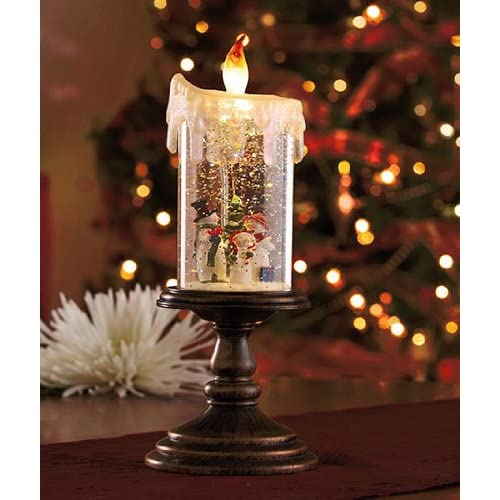 Lighted Snowman Candle Globe Flameless LED