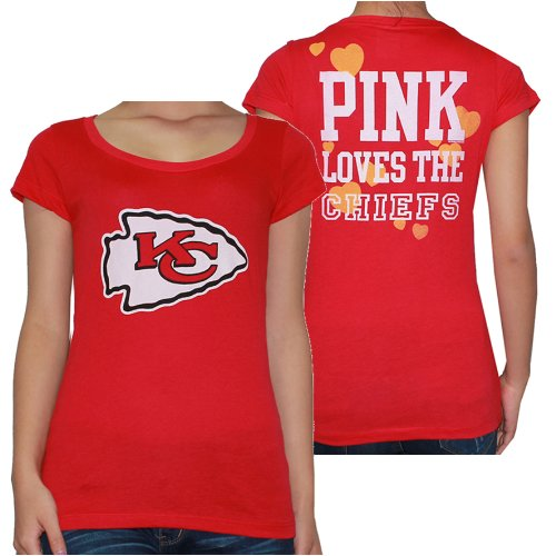 Womens NFL Kansas City Chiefs T Shirt by Pink Victoria's Secret L Red Amazon.com