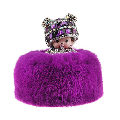 Luxury Crystal Rhinestone Cute Cartoon Monchhichi Doll Car Perfume Seat Base Bottle Refillable Container Air Freshener Auto Fragrance Aroma Purifier Home Office Desk Toy Ornament Decoration Gift Set