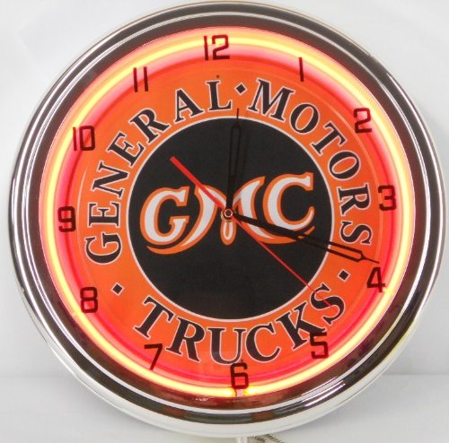 "Gmc General Motors Trucks 15"" Neon Wall Clock Garage Logo Emblem Sign Orange"