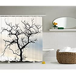 Ambesonne Woodsy Shower Curtain Decorations Collection, A Lonely Tree in Fall Black Branches with Abstract Art Falling Leaves, Polyester Fabric Bathroom Set with Hooks, Ombre Blue Beige