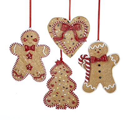 Kurt Adler Gingerbread Men, Tree And Heart Ornaments, Set Of 12 (3 of Each)