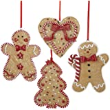 Gingerbread Men, Tree And Heart Ornament Set OF 4