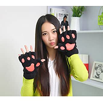 Girl's Funny Bear Panda Claw Plush Half Finger Winter Warm Gloves Cosplay Costume