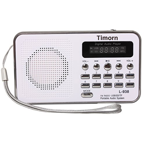 Timorn Radio Mini Portable Music Player Supports TF Card/USB/SD/MP3 Format/FM Radio Function (White)