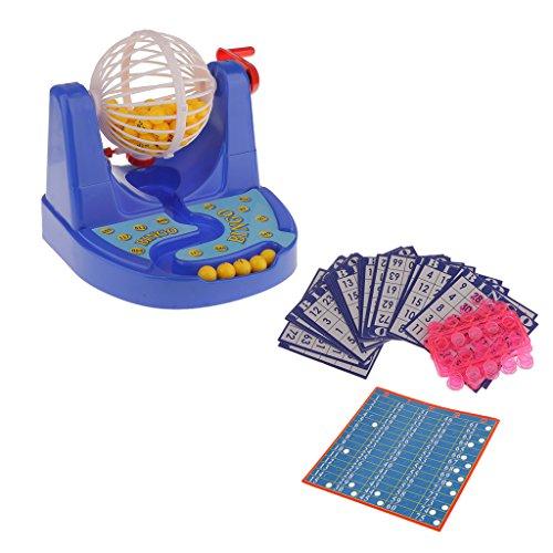 Mini Set Jeu Bingo Machine à Balles avec Bingo Carte Jetons Jeu de Famille Fête Cadeau Enfants