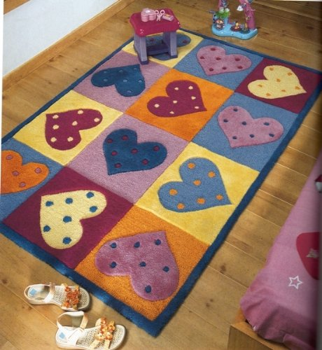 CHILDRENS HEART SQUARE DESIGN RUG IN MULTI COLOURED SHADES 90CM x 120CM (3FT x 4FT) 100% WOOL