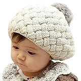 Baby Infant Boy Girl Knit Warm Beanie Crochet Rib Pom Pom Hat Cap Beige (Beige)